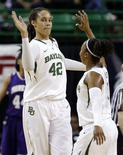 Baylor's Brittney Griner (42) and Odyssey Sims, right, celebrate a score in the first half of a first-round game against Prairie View A&M in the women's NCAA college basketball tournament, Sunday, March 24, 2013, in Waco, Texas. (AP Photo/Tony Gutierrez)
