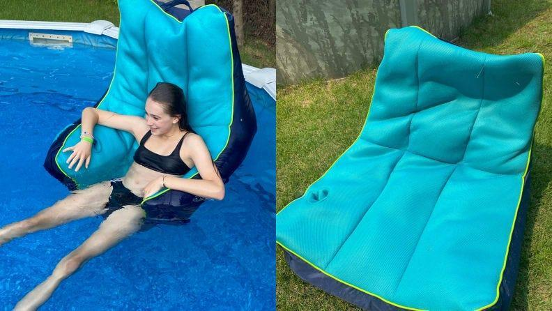 Reclining in a bean-bag-style pool float shouldn't be  this  difficult.