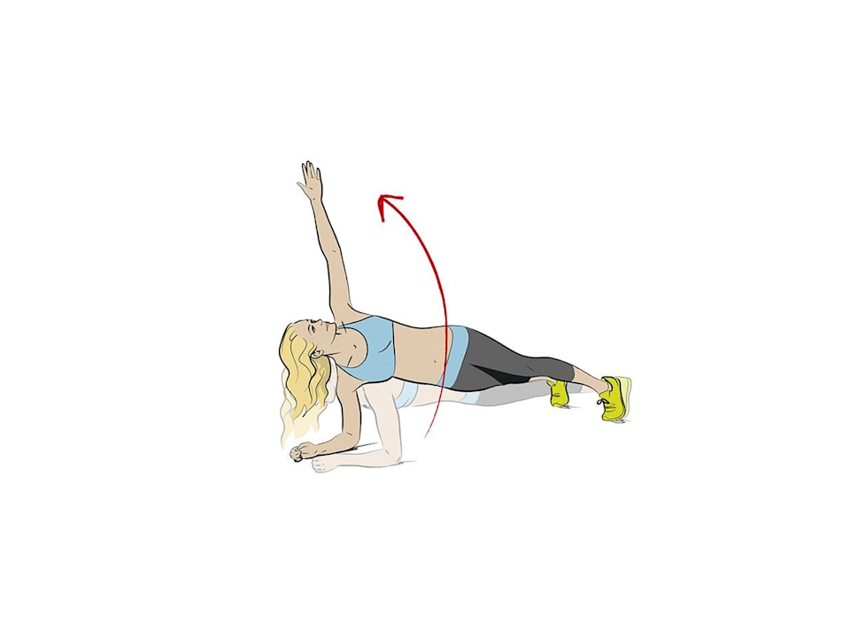 <p><strong>1/ </strong>Start in a low plank. Lift up your right hand, rotating onto your side so you are in a side plank (your feet will turn slightly, too).</p><p><strong>2/ </strong>Hold for 3 secs before returning to centre. Repeat on the other side.<br></p>
