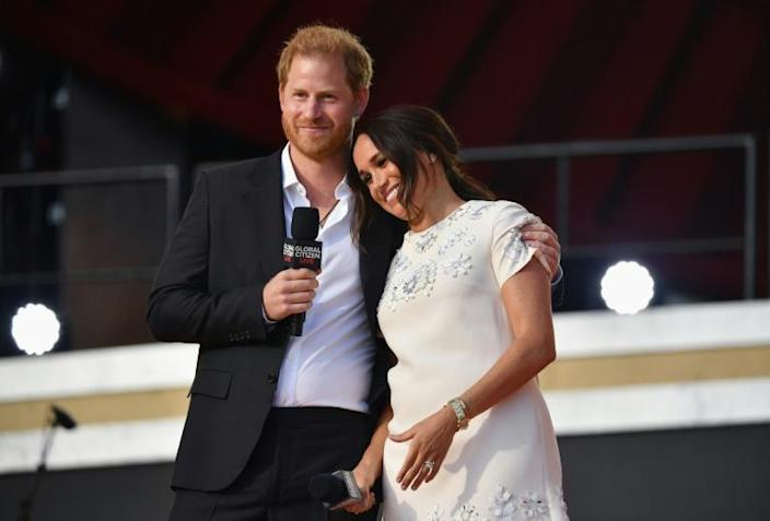 Britain's Prince Harry and Meghan Markle called for vaccine access to be treated as a human right during the Global Citizen Live festival in Central Park on September 25, 2021 in New York City (AFP/Angela Weiss)