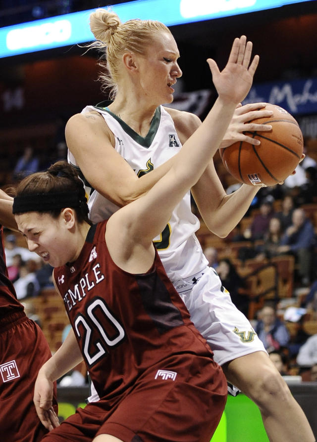 Temple's Meghan Roxas fouls South Florida's Inga Orekhova, top, during the first half of an NCAA college basketball game in the quarterfinals of the American Athletic Conference women's basketball tournament, Saturday, March 8, 2014, in Uncasville, Conn. (AP Photo/Jessica Hill)