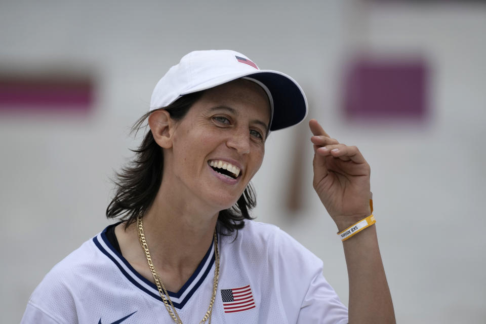 """FILE - In this July 26, 2021, file photo, Alexis Sablone of the United States smiles during the women's street skateboarding finals at the 2020 Summer Olympics in Tokyo, Japan. The Tokyo Games are shaping up as a watershed for LGBTQ Olympians. Openly gay Sablone says """"it's about time."""" (AP Photo/Ben Curtis, File)"""