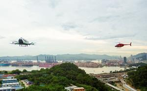 Picture: Demo flights of HELI-EASTERN's Bell 206 and EHang 216 AAV in the integrated airspace in Shenzhen
