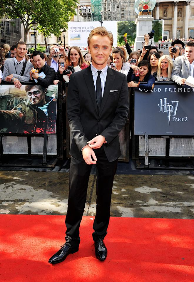 """<a href=""""http://movies.yahoo.com/movie/contributor/1800308596"""">Tom Felton</a> at the London world premiere of <a href=""""http://movies.yahoo.com/movie/1810004624/info"""">Harry Potter and the Deathly Hallows - Part 2</a> on July 7, 2011."""