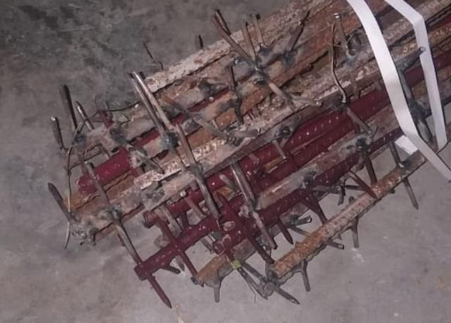 An image passed to the BBC by an Indian military official shows crude weapons purportedly used in the fight