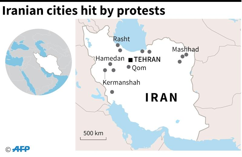 Map of Iran locating the main cities hit by protests (AFP Photo/Alain BOMMENEL)