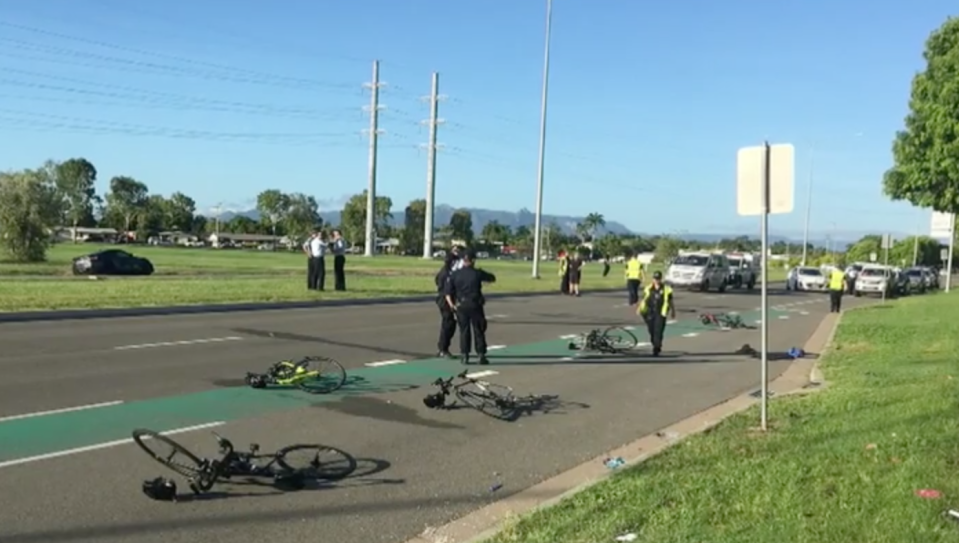 This was the aftermath of the crash on Dalrymple Road on Wednesday morning. Source: Nine News