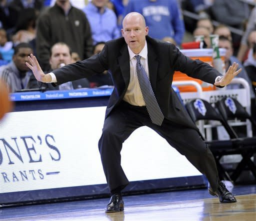 Seton Hall coach Kevin Willard reacts during the second half of an NCAA college basketball game against Georgetown, Tuesday, Feb. 21, 2012, in Newark, N.J. Seton Hall defeated Georgetown 73-55. (AP Photo/Bill Kostroun)