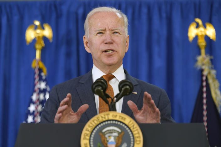 President Biden talks about the U.S. economy in Rehoboth Beach, Del., Friday. (AP Photo/Susan Walsh)