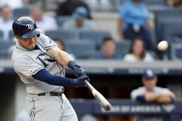 Travis d'Arnaud made some history for the Rays on Monday. (AP Photo/Kathy Willens)
