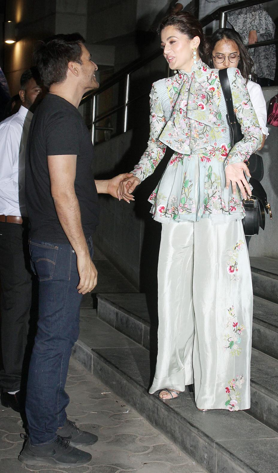 Manav Kaul and Tapsee Pannu greet each other at the screening. Their characters are central to <i>Thappad</i>.