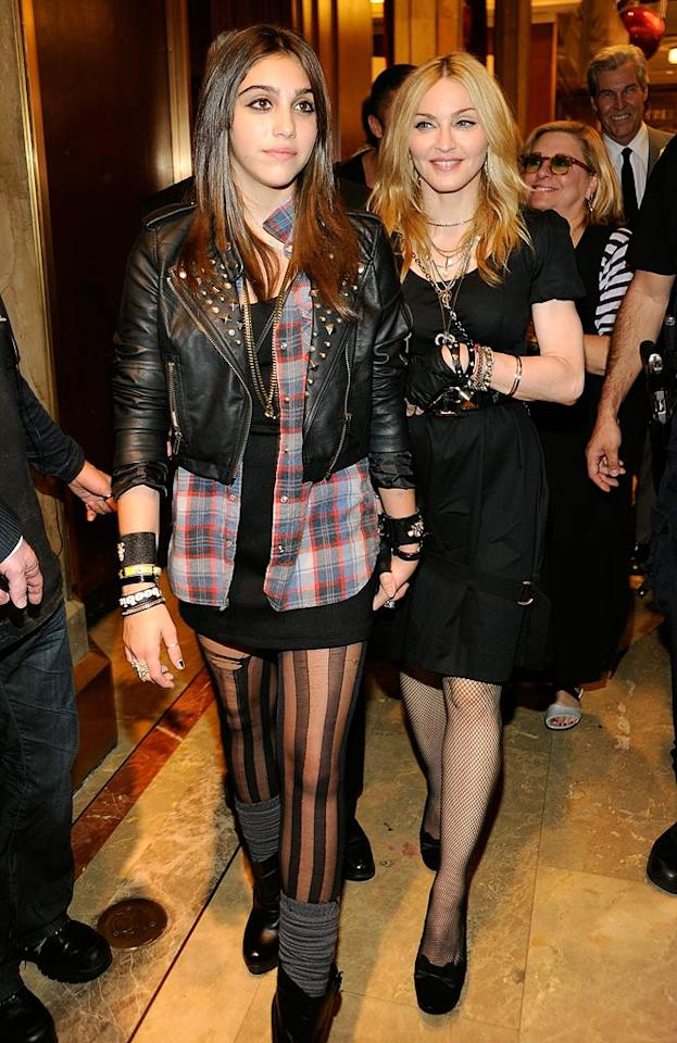 """Madonna and her 13-year-old daughter Lourdes Leon (aka Lola) arrived at Macy's in NYC to celebrate the launch of their Material Girl clothing line. Inside the event, the Queen of Pop gushed, """"I would like to thank my incredible daughter Lola, who has been so inspiring ... I've achieved many things in my life, but I have to say that watching my daughter make her dreams come true and achieve her goals is the most exciting thing I've ever done."""" Kevin Mazur/<a href=""""http://www.wireimage.com"""" target=""""new"""">WireImage.com</a> - September 22, 2010"""