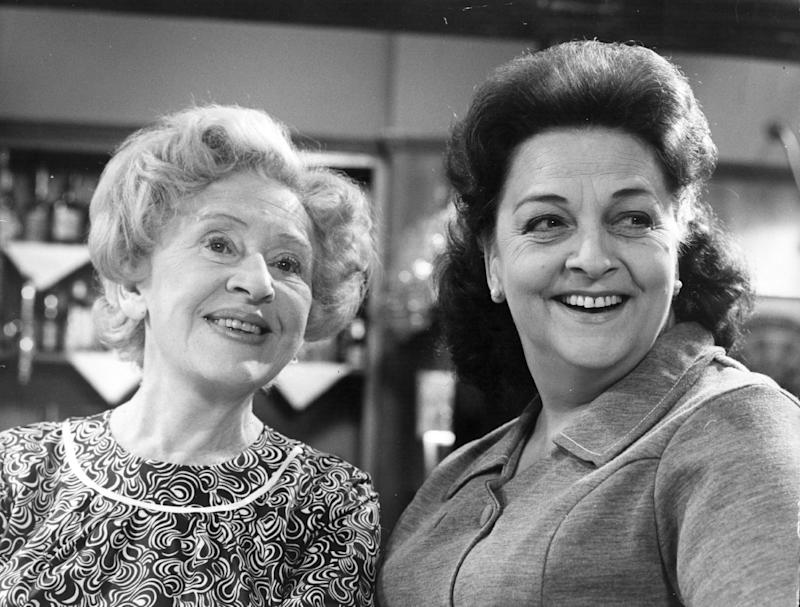 10th September 1970: Actress Doris Speed as Annie Walker and Betty Driver as Betty Turpin in the television series 'Coronation Street'. (Photo by John Madden/Keystone/Getty Images)