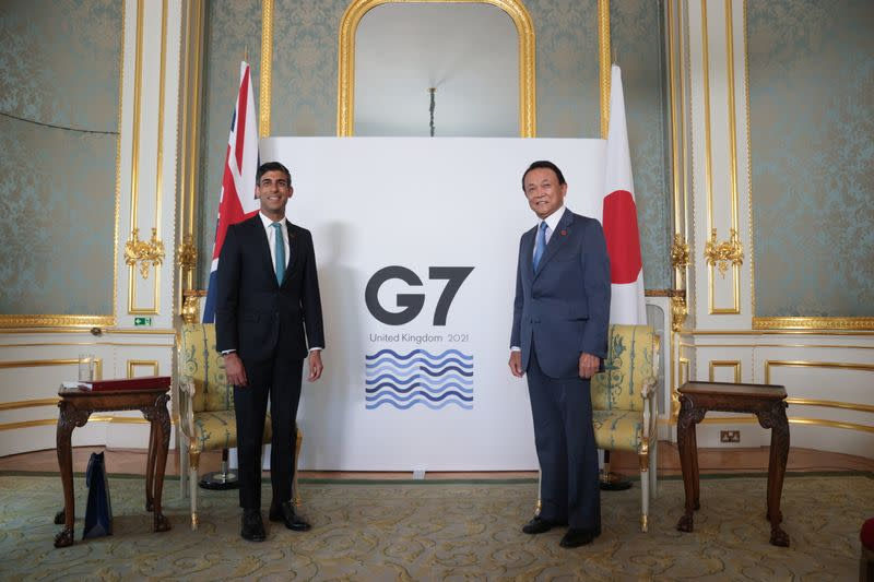 Britain's Chancellor of the Exchequer meets with Japanese Deputy Prime Minister and Finance Minister Taro Aso, in London