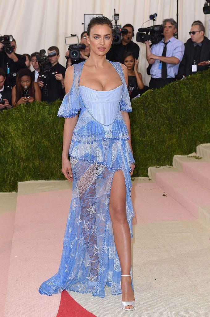 <p>Shayk wore a blue Givenchy gown. </p>