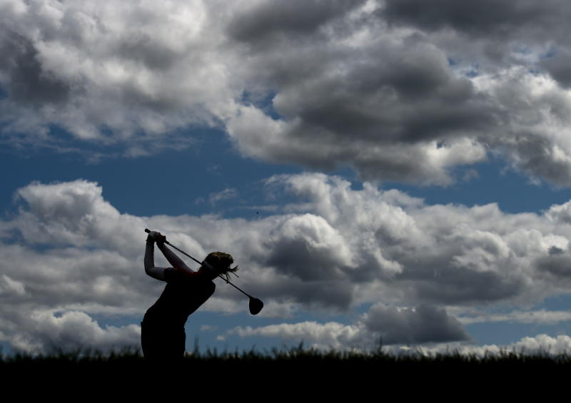 Canada's Brooke Henderson hits her tee shot on the 12th hole during the second round of the CP Women's Open golf tournament in Aurora, Ontario, Friday, Aug. 23, 2019. (Nathan Denette/The Canadian Press via AP)