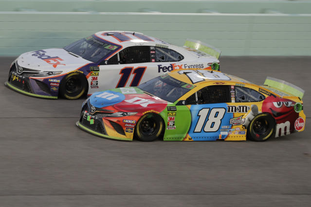 Denny Hamlin (11) and Kyle Busch should be racing for the 2020 Cup Series title. (AP Photo/Luis M. Alvarez)