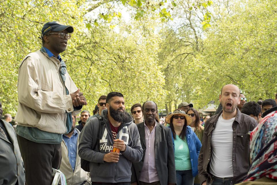 People discuss issues at a previous gathering at Speakers' Corner in Hyde Park. (Getty)