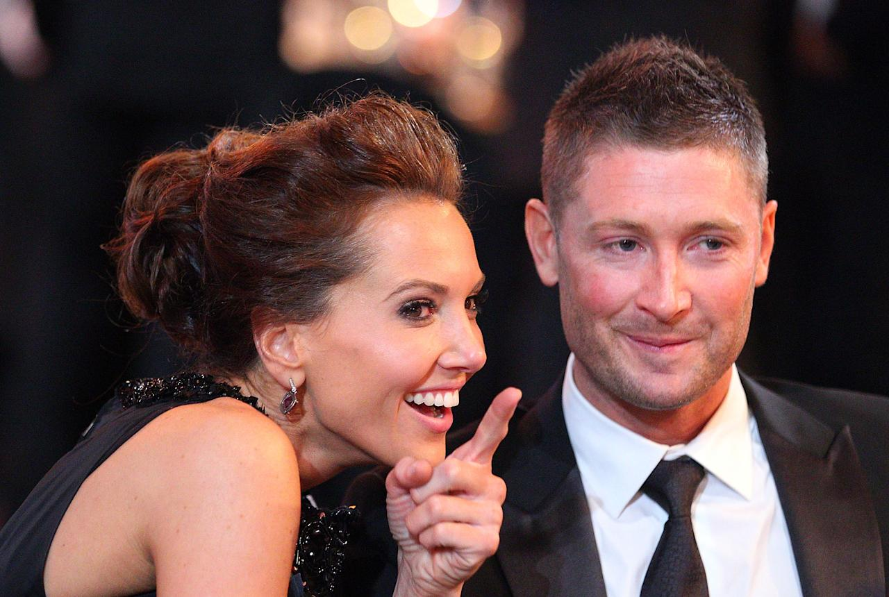 MELBOURNE, AUSTRALIA - FEBRUARY 27:  Michael Clarke and Kyly Boldy look on during the 2012 Allan Border Medal Awards at Crown Palladium on February 27, 2012 in Melbourne, Australia.  (Photo by Scott Barbour/Getty Images)