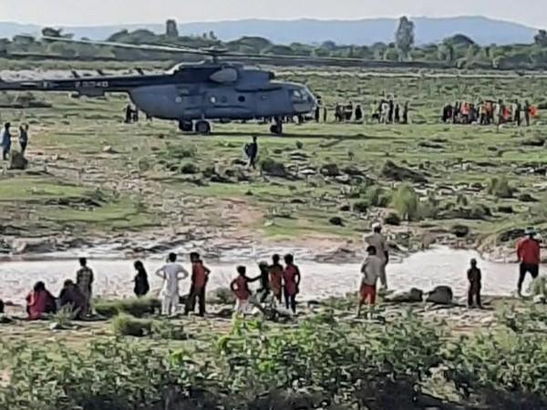 FFive people who were trapped in the flash-floods in Kathua were rescued on Tuesday.
