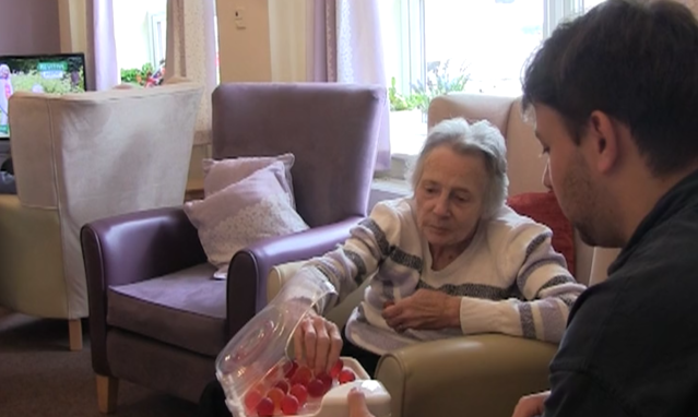 Lewis Hornby created hydrating Jelly Drops to help patients like his grandmother Pat, who has dementia, stay hydrated. (Photo: Lewis Hornby via Vimeo)