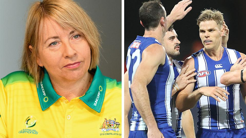 A 50-50 split image shows Lisa Alexander on the left and the North Melbourne Kangaroos on the right.