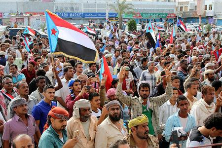 Supporters of southern Yemeni separatists take part in an anti-government protest in Aden, Yemen January 28, 2018. REUTERS/Fawaz Salman