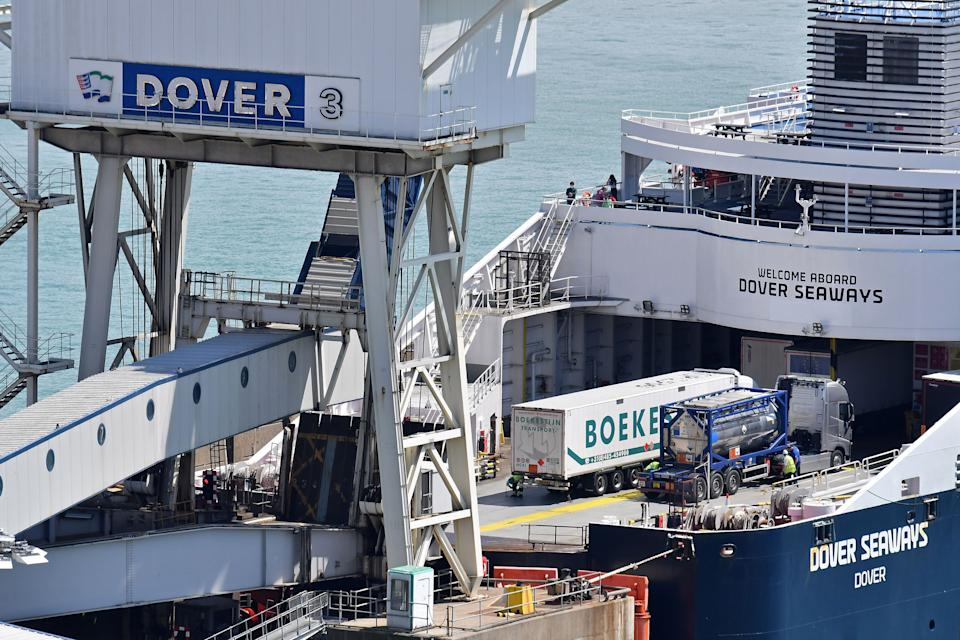 Freight lorries board a ferry at the Port of Dover bound for France, in Dover on the south coast of England on July 12, 2020. - Britain on Sunday pledged £705 million ($890 million, 788 million euros) to prepare its borders for cutting ties with the European Union on December 31, amid concern within government that it is not ready. (Photo by JUSTIN TALLIS / AFP) (Photo by JUSTIN TALLIS/AFP via Getty Images)