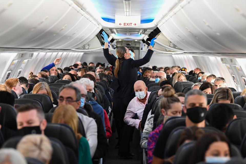 Passengers on a flight from Sydney to Adelaide in September. Source: Getty