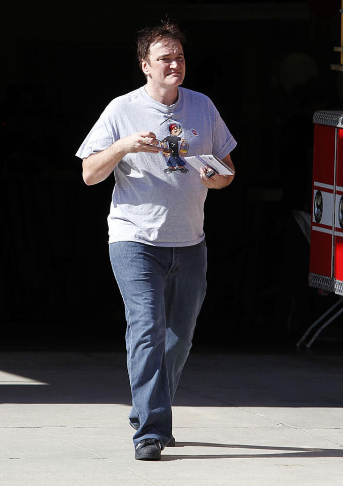 Quentin Tarantino leaves a Los Angeles polling station after casting his vote in the 2012 general election.