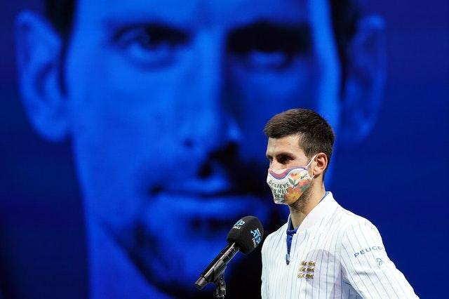 """World number one Novak Djokovic sports a face mask following victory over Diego Schwartzman at the ATP Finals in London. The 17-time Grand Slam champion apologised earlier in the year after becoming the latest tennis player to test positive for Covid-19. Grigor Dimitrov, Borna Coric and Viktor Troicki each revealed they had coronavirus after playing at Djokovic's Adria Tour competition in Serbia and Croatia, with the 33-year-old later conceding it had been """"too soon"""" to stage the tournament"""