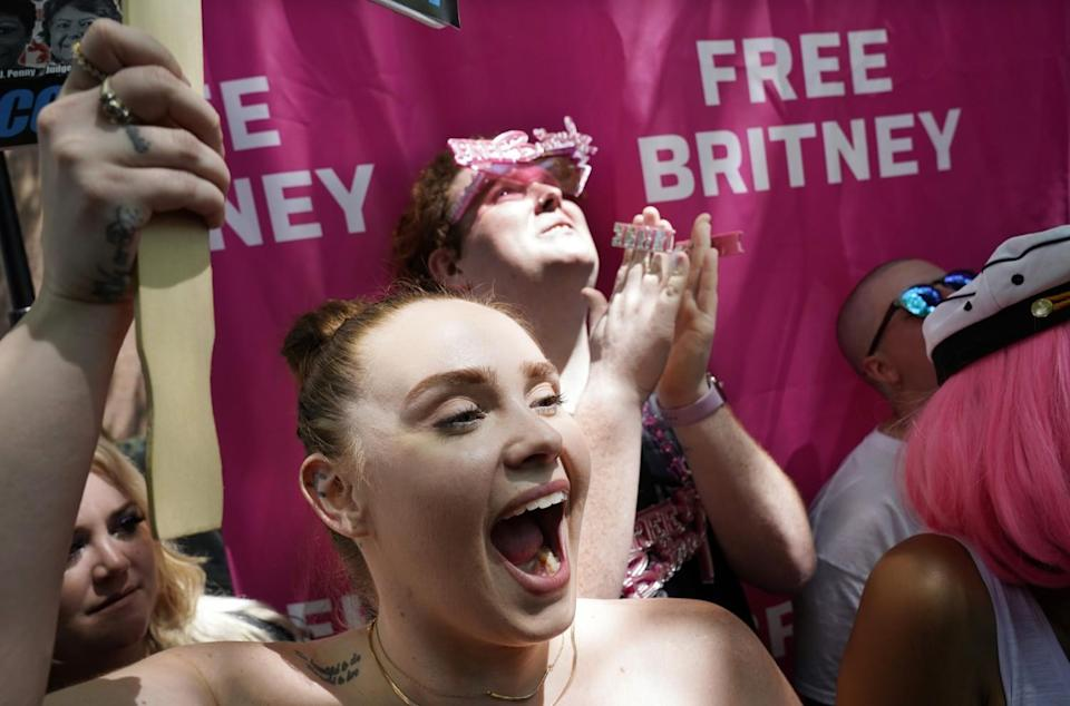 A protester holds a Free Britney banner