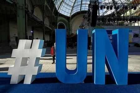 A United Nations logo is pictured at the Grand Palais during the Solutions COP21 in Paris, France, December 4, 2015 as the World Climate Change Conference 2015 (COP21) continues at Le Bourget near the French capital. REUTERS/Benoit Tessier