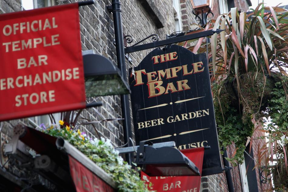 The sign above the Temple Bar pub is seen in Temple Bar.