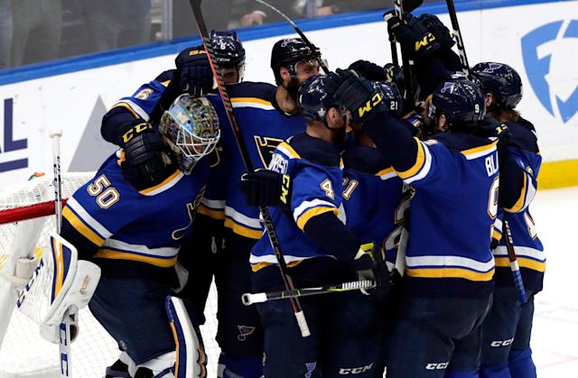 "The St. Louis Blues will play the <a class=""link rapid-noclick-resp"" href=""/nhl/teams/boston/"" data-ylk=""slk:Boston Bruins"">Boston Bruins</a> in the Stanley Cup Final. (AP)"