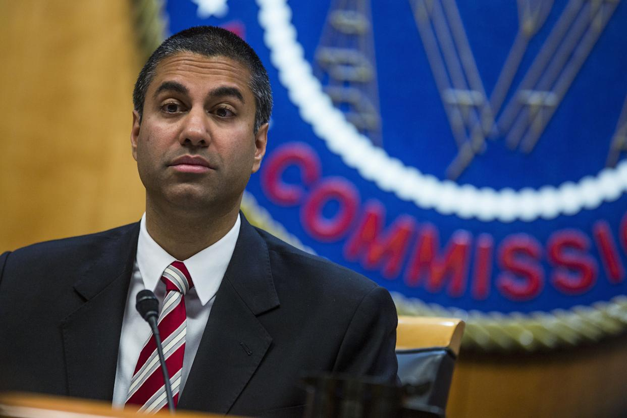 Ajit Pai, the Trump-appointed chairman of the Federal Communications Commission, speaks during an open meeting on Nov. 16. (Photo: Zach Gibson/Bloomberg via Getty Images)