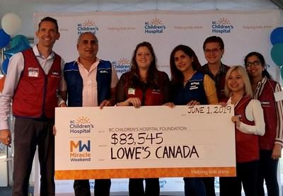 The Lowe's Canada team attended the BC Children's Hospital Foundation Miracle Weekend telethon on Sunday to present a cheque for $83,545. (CNW Group/Lowe's Canada)