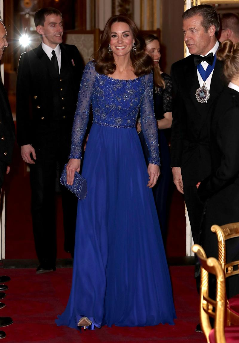 Catherine, Duchess of Cambridge hosts a Gala Dinner in celebration of the 25th anniversary of Place2Be at Buckingham Palace, March 9, 2020 (REUTERS)