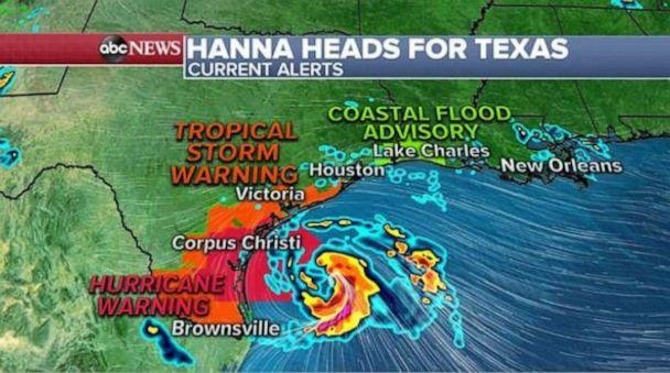 PHOTO: Hanna remains a tropical storm as of 3 a.m. EST and is moving west at 8 mph with sustained winds of 65 mph. (ABC News)