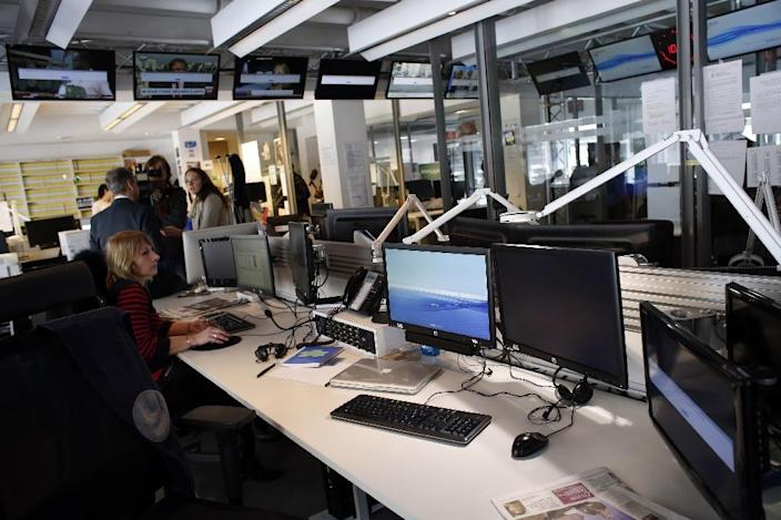 The newsroom at French TV5Monde headquarters in Paris, after TV5Monde was hacked by individuals claiming to belong to the Islamic State group (AFP Photo/Thomas Samson)