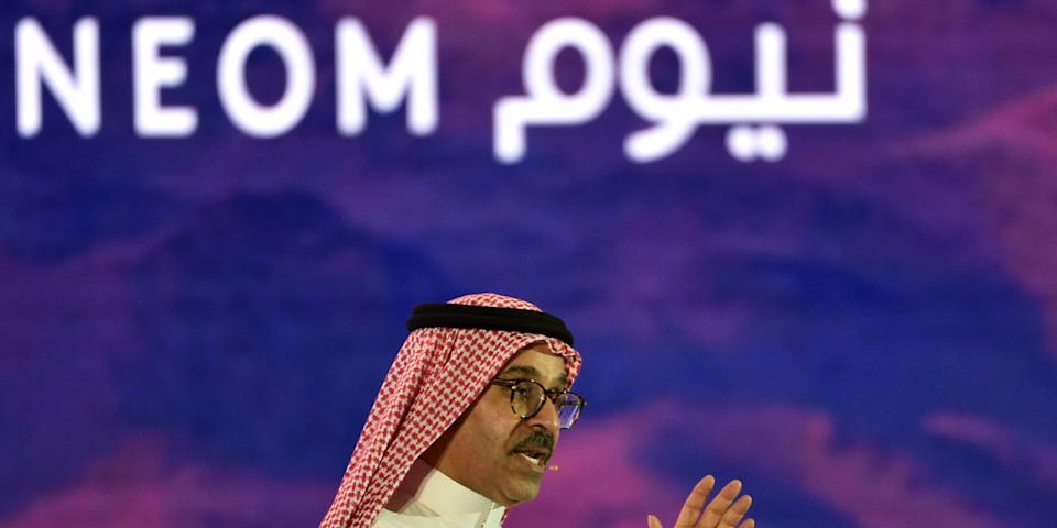 """Neom CEO Nadhmi al-Nasr speaks at the Future Investment Initiative conference in Riyadh on October 25, 2018. <p class=""""copyright"""">FAYEZ NURELDINE/AFP via Getty Images</p>"""