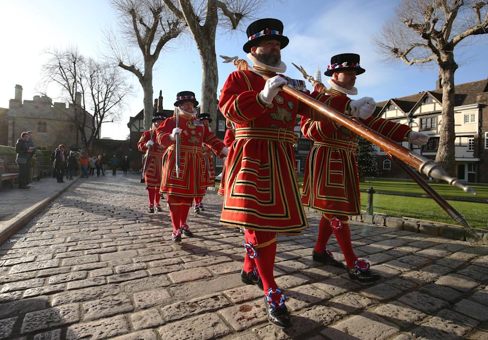 File photo dated 15/12/19 of Yeoman Warders (more commonly known as Beefeaters), as they reportedly facing redundancies for the first time in their long history, due to the coronavirus lockdown's impact on tourism at the Tower of London.