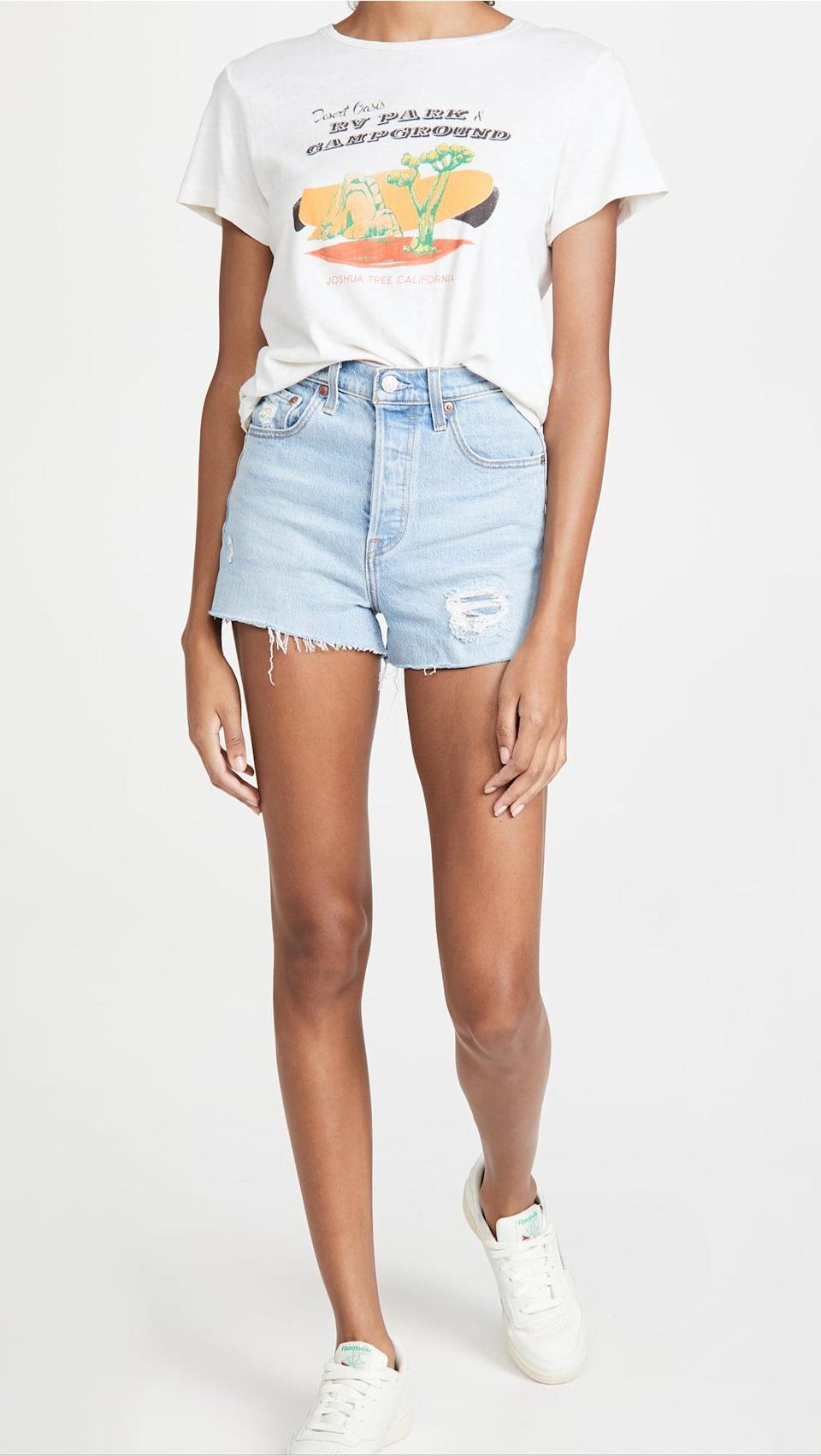 <p>These <span>Levi's Ribcage Cutoff Shorts</span> ($80) are going to be your new favorite. They've got a higher waist, so they're super flattering.</p>