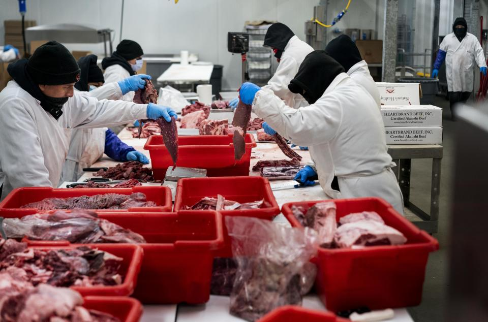 RICHMOND, CALIFORNIA - APRIL 24, 2020: With business turned upside down during the COVID-19 pandemic, Golden Gate Meat Company have pivoted their meat processing more to rapidly increased home orders; for instance, by  using smaller quantity package machines,  and away from the dramatically fallen restaurant business in Richmond, California Friday April 24, 2020.  (Photo by Melina Mara/The Washington Post via Getty Images)
