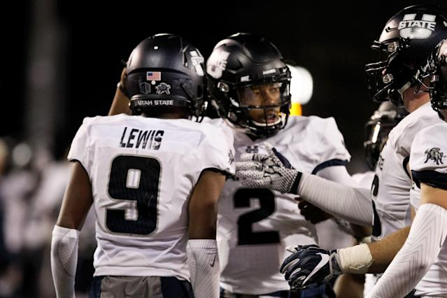 Rayshad Lewis had 40 catches for 476 yards as a true freshman at Utah State. (AP Photo/Shannon Broderick)