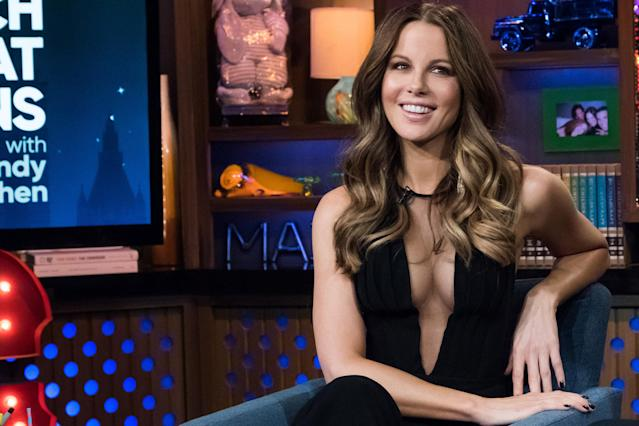 Kate Beckinsale on the set of <i>Watch What Happens Live</i> in August. (Photo: Charles Sykes/Bravo/NBCU Photo Bank)