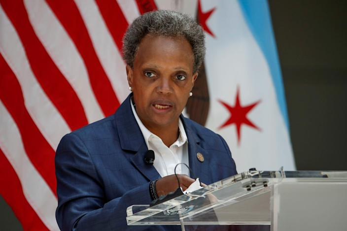 Chicago's Mayor Lori Lightfoot speaks during a science initiative event at the University of Chicago in Chicago, Illinois, on July 23, 2020.JPG