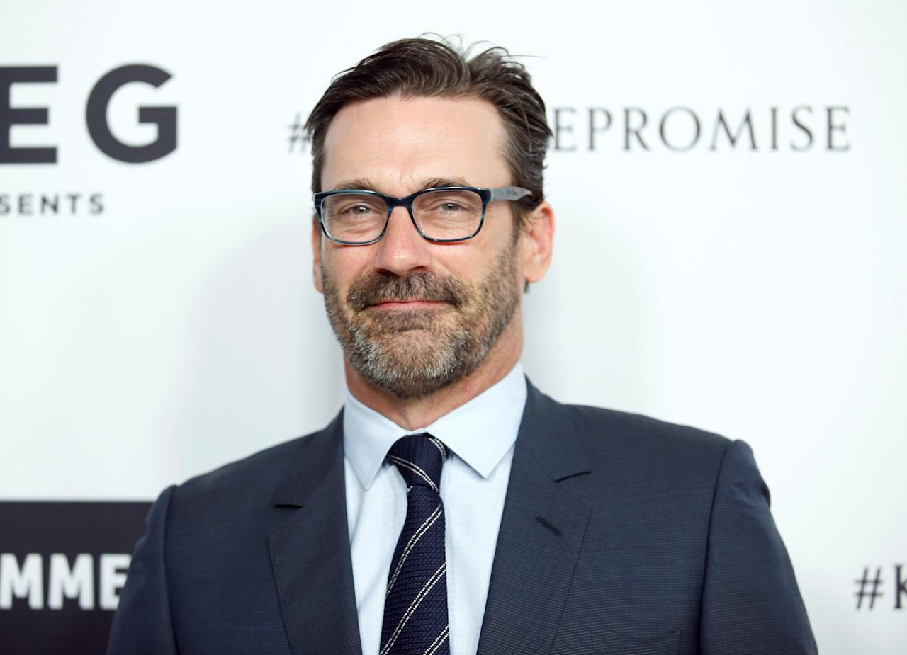 Actors Jon Hamm poses at Elton John's 70th Birthday and 50-Year Songwriting Partnership with Bernie Taupin benefiting the Elton John AIDS Foundation and the UCLA Hammer Museum at RED Studios Hollywood in Los Angeles, March 25, 2017. REUTERS/Danny Moloshok