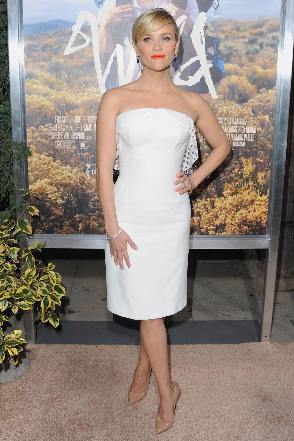 <p>After a transformative new film, Witherspoon looked like a whole new woman in this little Zac Posen frock. </p>