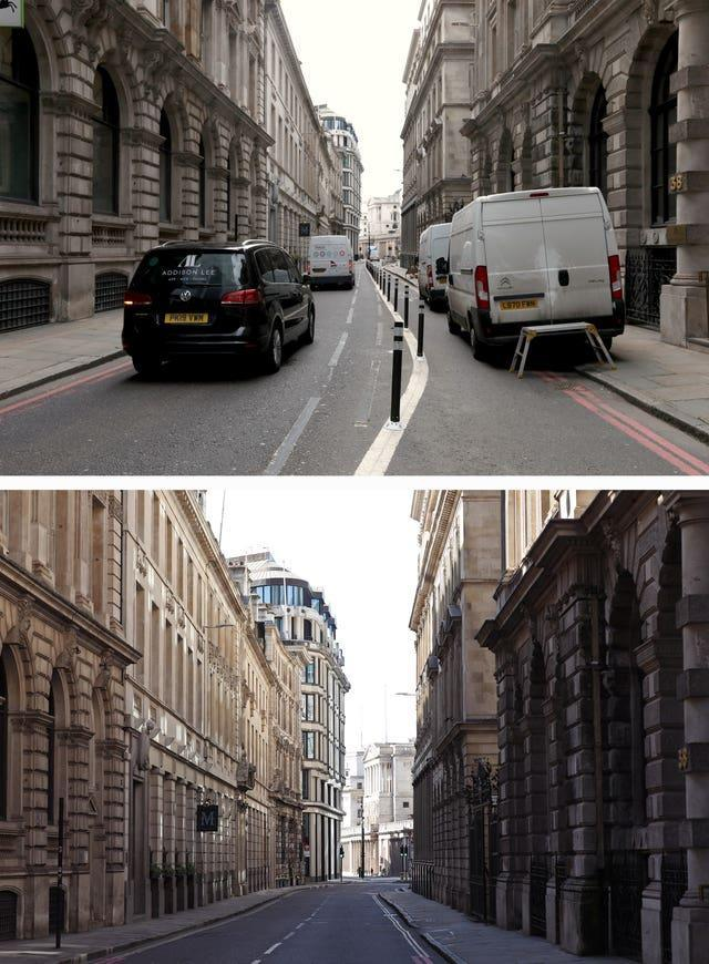Composite of photos of Old Broad Street with the Bank of England in the distance, in the City of London, taken today (top) and the same view on 24/03/20 (bottom), the day after Prime Minister Boris Johnson put the UK in lockdown